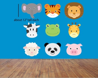 Zoo animals decals, Jungle animals wall decals, Farm animal decals, Cute animal wall decals, Animal decals, Kid's room wall decals, Cow, Pig