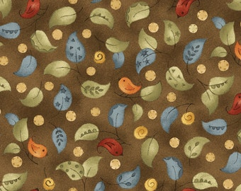 Shine - 26437 Dark Brown Leaves by Jacqueline Paton Collection for Red Rooster Fabrics
