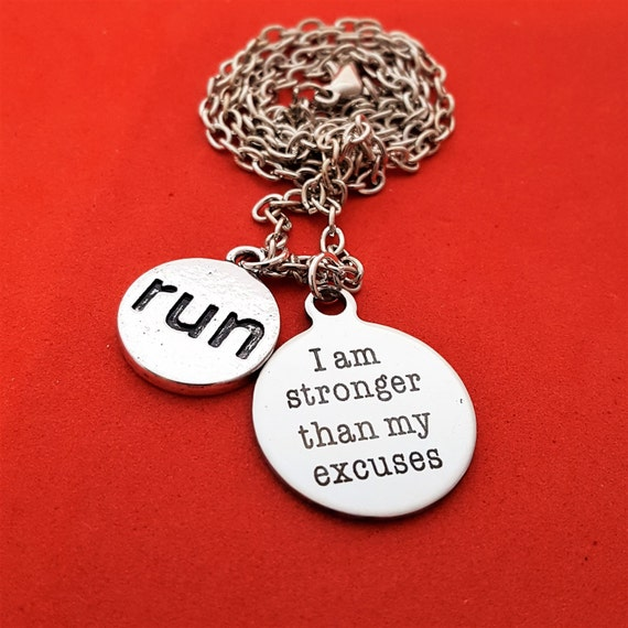 Marathon Race Gifts, Running Jewelry, Runner Coach Gifts, Run Charms, I Am Stronger Than My Excuses Charm Necklace, Motivational Quotes