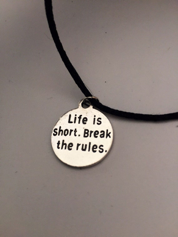 CrossFit Necklace, Fitness Jewelry, Life is Short Break the Rules Word Charm, Motivational Sports Team Gifts, Gifts for Runners Athletes