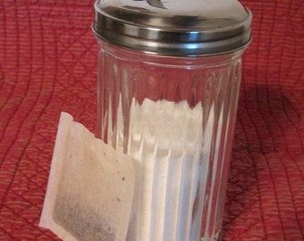 Ribbed Sugar Shaker, Glass Sugar Shaker, Glass Sugar Jar