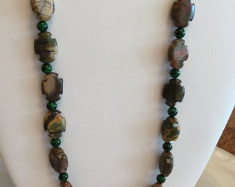 "Picture Jasper Gems with Jade Necklace 23""Long"