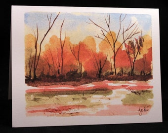 Abstract Impressionist Fall Landscape Original Watercolor Print Card