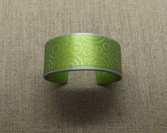 """Aluminum Garden Green Bracelet Cuff 1"""" Wide"""