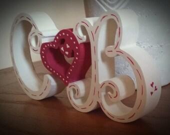 Free Standing Painted Wooden Initials. Valentines. Wedding Gift. Anniversary. 125mm Tall. Handmade.