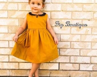 Girls, dress, vintage, collar, zip, party dress, mustard