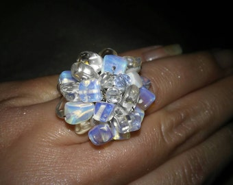 Clear and Blue Crystal Beaded Ring