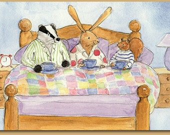 Tea in Bed....Badger, Hare and Squirrel