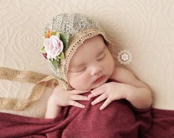 Knit Newborn Girl Prop, Newborn Hat, Newborn Bonnet, Newborn Photography Prop