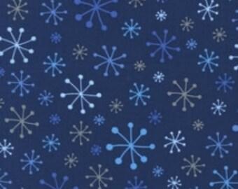 Fabric by the yard - Robert Kaufman - OTinsel Tree - Snowflakes, Navy