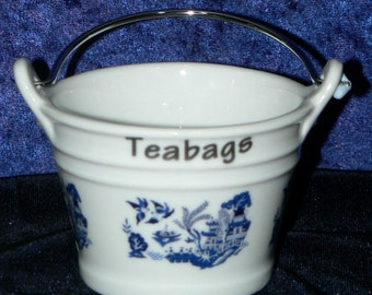 Blue willow teabag tidy, Blue willow pattern porcelain bucket shaped teabag tidy