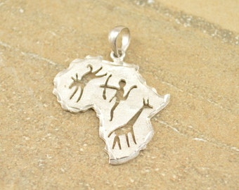 Textured Africa Tribal Cut Out Pendant Sterling Silver 3.5g Vintage Estate