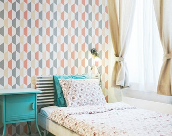 Geometric Wallpaper /Traditional or Removable Wallpaper L026