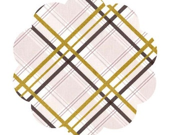 Bow tie plaid mist fabric. Brambleberry ridge by violet craft. High density metallic fabric. Modern plaid fabric. Sewing fabric for crafters