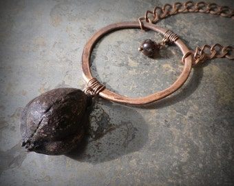 Copper necklace, real natural copper plated yucca seed pod pendant with copper ring/ agate bead, nature inspired rustic bohemian jewelry