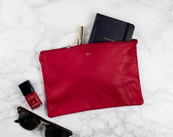 Monogram Personalised REAL LEATHER Pouch - Red