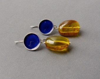 Amber - Silver earrings with blue enamel. Amber earrings with blue enamel & silver