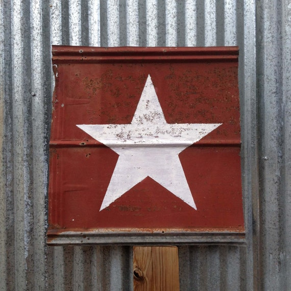 Star White Paint On Old Red Barn Metal 28x28 Inches Metal