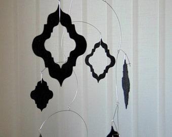 Black Felt Hanging Mobile, Baroque Mobile, Felt Hanging Mobile