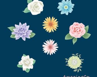 Digital Flower Clipart-clip art set of flowers ideals for scrapbook, cards, invitations,paper craft