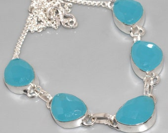 BLUE LAGOON Chalcedony necklace Sterling Chain.. Ocean Skys and lagoons
