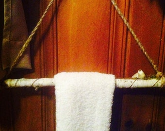 Birch and copper towel holder