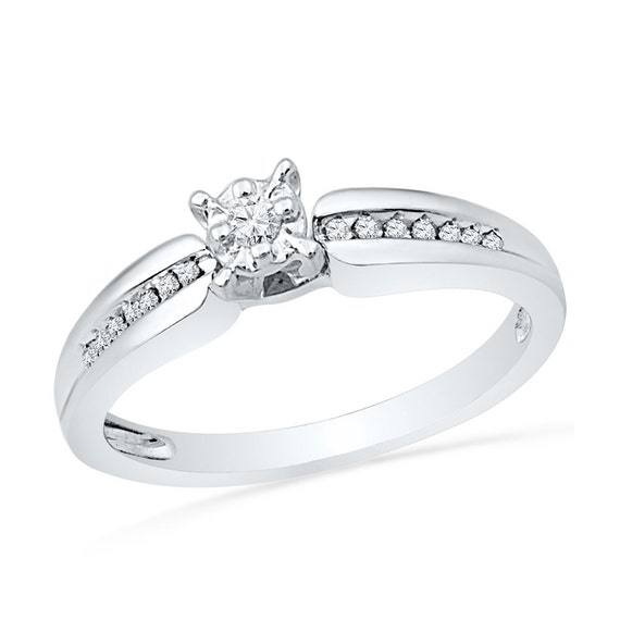 Engagement Ring Memorial Day Sale: Diamond Fashion Engagement Ring Made In Sterling Silver Or