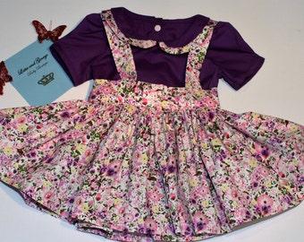 girls suspender skirt and blouse set