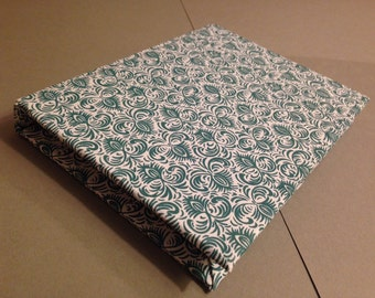 Handmade Hand Sewn Blank Notebook/Sketchbook Slate Blue Design on White