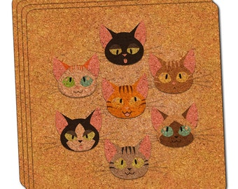 Cat Faces Thin Cork Coaster Set of 4