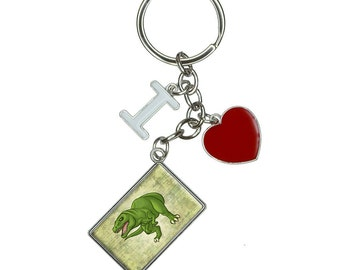 Treacherous T Rex I Heart Love Keychain Key Ring