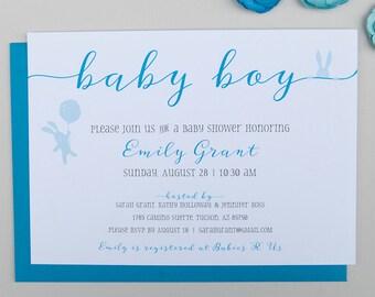 Baby Bunny Shower Invitation, Baby Shower Invitation, Baby Boy, Blue Baby Shower Invitation – DEPOSIT