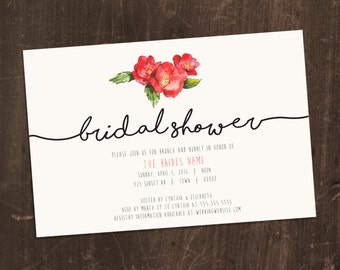 Printable Bridal Shower Invitation - simple and elegant
