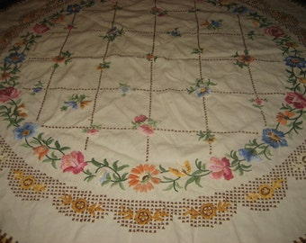 46 inch Round Hand Embroidered Tablecloth