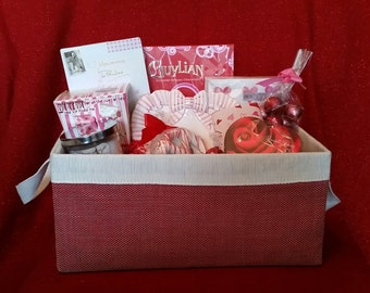 Gift Basket - Vintage Heart Shaped Dish with Bow, Tea, Jar Candle, Chocolates, Macaroons