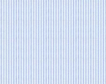 Blue Seersucker Fabric, Robert Kaufman Fabric, light blue and white seersucker, cotton blend seersucker