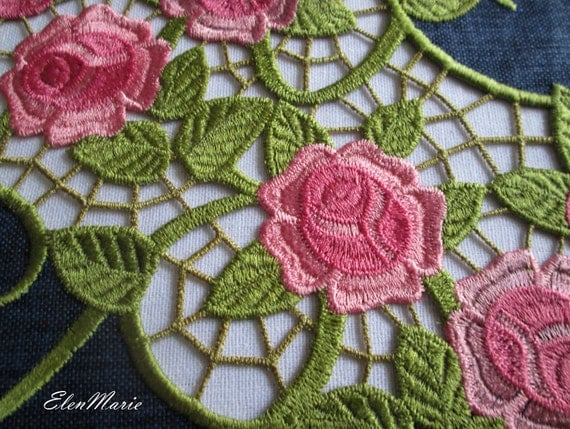 Machine embroidery design cutwork lace roses