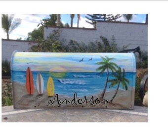 Hand painted mailboxes ready to ship beach surf board tropical coastal sunset sunrise surfboard palm tree  surfer lover gift house warming