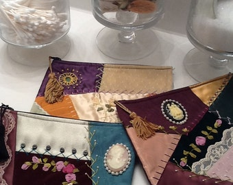 Handmade Crazy Quilt Make-Up Bag Jewelry Bag Zipper Bag Embroidery-Silk Ribbon-Beads-Tassels Multi-Color Satin Silk Lined-French Seams