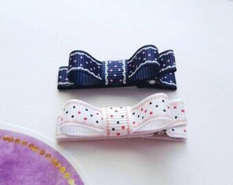 Baby girl clip barrette. Girl hair clip. Tuxedo bow hair clip. Baby barrette