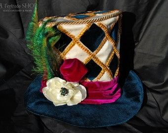 Cylinder hat Harlequin. Mad Hatter hat. Alice in wonderland hat. Performance masquerade hat. Carnival hat with rhombs. !ONLY TO ORDER!