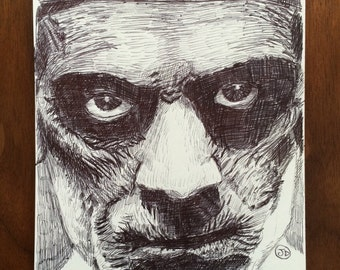 "Boris Karloff ""The Mummy"" Ball Point Pen Portrait"