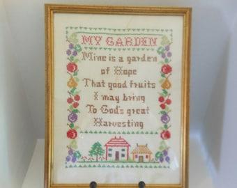 Antique Sampler/Framed /My Garden