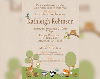 Forest baby shower Invitations - Woodland Shower - Woodland Baby shower - Woodland Printable Invitations - Woodland party Invitations