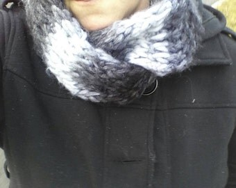 Black and white with grey infinity scarf