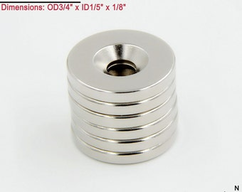 "6-Ct (Free Shipping) Neodymium N45 NdFeb 3/4"" Countersunk Ring Magnets"