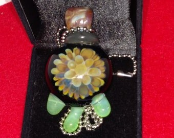 Implosion glass pendant necklace