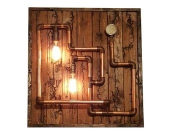 Steampunk Pipe Lamp on Reclaimed Burned Wood Mount, Electrified Fractal Design