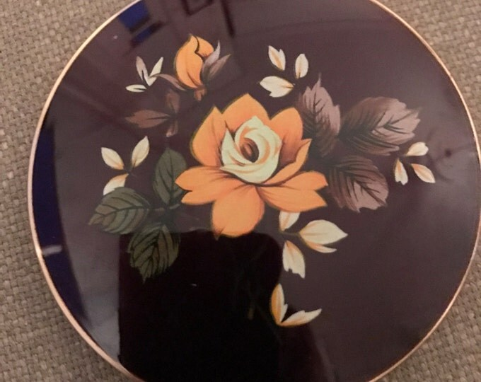 Stratton Vintage Brown Floral Compact