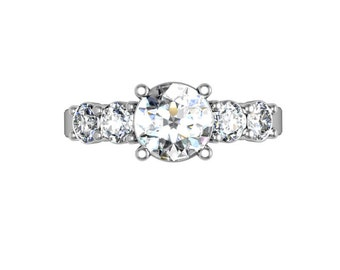 Five Stone Classic Engagement Ring in 18K White Gold, five stone diamond engagement ring, Diamond Engagement ring